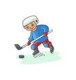 happy little boy playing hockey winter activity vector image vector image