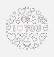 i love you round simple outline vector image