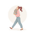 modern young woman holding a stack book vector image