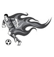 monochromatic soccer player kicking a ball and has vector image vector image