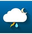 Night cloud moon lightning and rain drop isolated vector image