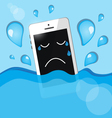 phone into the water vector image vector image