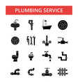 plumbing service thin line icons vector image vector image