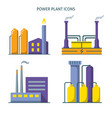 power plant icons set in flat style vector image