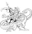 saint george slaying dragon line art vector image vector image