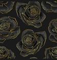 seamless pattern golden outline rose vector image
