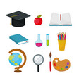 set graduate cap with apple and erlenmeyer flask vector image