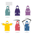 Set Grim Reaper in coloured raincoats Death in vector image