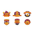 set of cartoon style happy halloween labels vector image