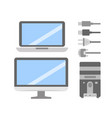 set of pc flat icons cable wire computer vector image