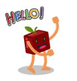 smiling apple fruit cartoon mascot character vector image vector image