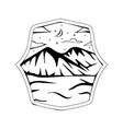 starry night ice land badge view vector image