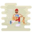 Strolling musician Homeless man vector image