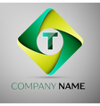 T letter colorful logo in the rhombus template for vector image