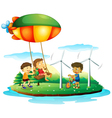 Three children playing at the park vector image vector image