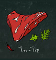 tri-tip steak cut isolated on chalkboard vector image vector image