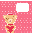 Valentines day card with bear girl vector image