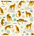 vestor seamless pattern with leopards and abstract vector image