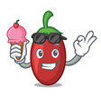with ice cream goji berries character cartoon vector image
