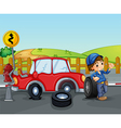 A car accident near the wooden fence vector image vector image
