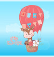 a cute deer balloon hand draw vector image vector image