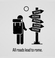 all roads lead to rome a motivational and vector image vector image