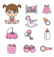 baby girl and baby icons vector image vector image