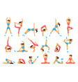 beautiful woman doing various exercises yoga vector image vector image