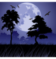 big blue moon and silhouettes of trees vector image
