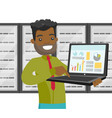 black man in data center with a laptop vector image