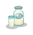 bottle of milk and glass on a vector image