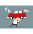 Businessman carries expensive debt for car vector image