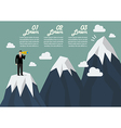 Businessman looking for mountain peak infographic vector image vector image