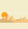 caravan of camels near egypt pyramids landscape vector image vector image