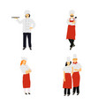 chefs in restaurant kitchen cooking cute cooks in vector image
