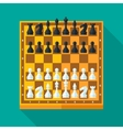 Chess figures and board set in flat style vector image vector image