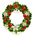 Christmas green and red embellishment vector image vector image