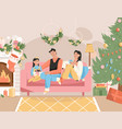 family celebrating new year holiday at home scene vector image