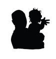 father with baby girl black vector image vector image