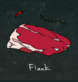 flank steak cut isolated on chalkboard vector image vector image