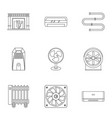 heating cooling air icon set outline style vector image vector image