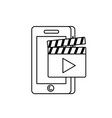 line smartphone technology with clapperboard video vector image