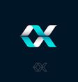 logo blue ribbon spiral helix origami logo dna vector image vector image