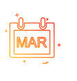 march calender icon design vector image