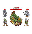 medieval characters historical buildings cartoon vector image
