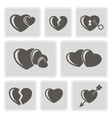 monochrome icons with hearts vector image