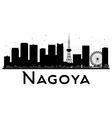 Nagoya City skyline black and white silhouette vector image vector image