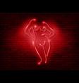 neon sign striptease silhouette naked girl vector image vector image