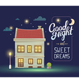 night house with street lamp and bush on vector image vector image