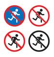 no pedestrian sign esit entry icon set vector image